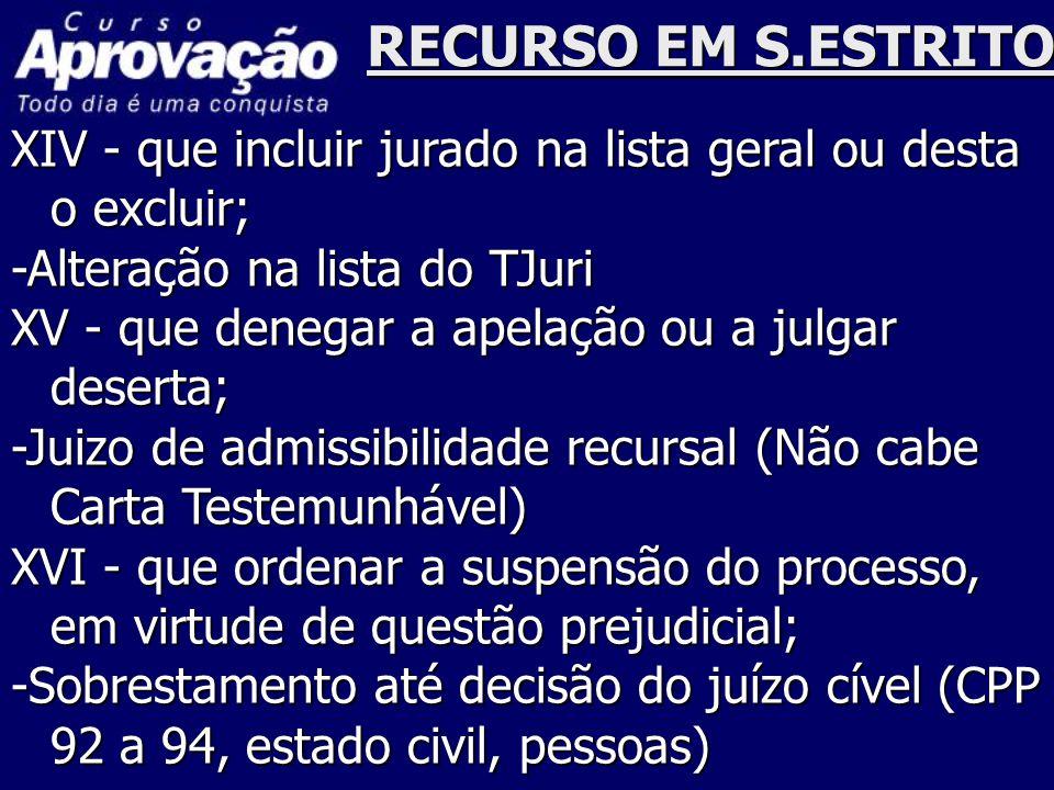 RECURSO EM S.ESTRITO XIV - que incluir jurado na lista geral ou desta o excluir; -Alteração na lista do TJuri.