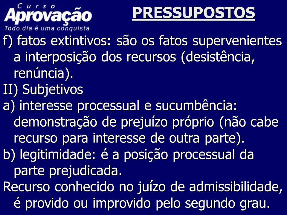 PRESSUPOSTOS f) fatos extintivos: são os fatos supervenientes a interposição dos recursos (desistência, renúncia).