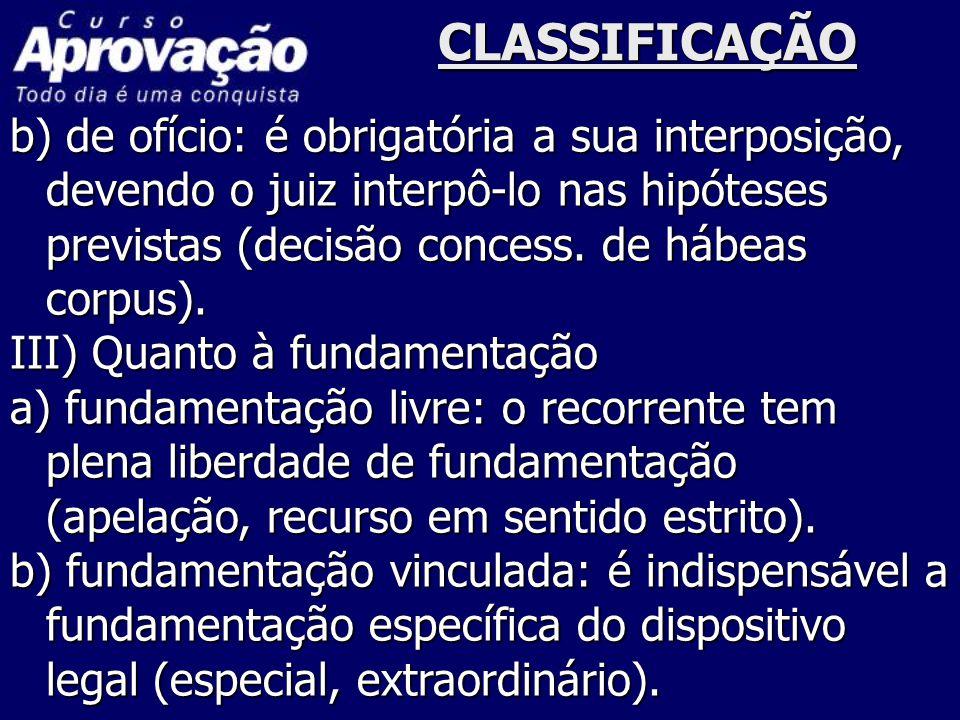 CLASSIFICAÇÃO b) de ofício: é obrigatória a sua interposição, devendo o juiz interpô-lo nas hipóteses previstas (decisão concess. de hábeas corpus).