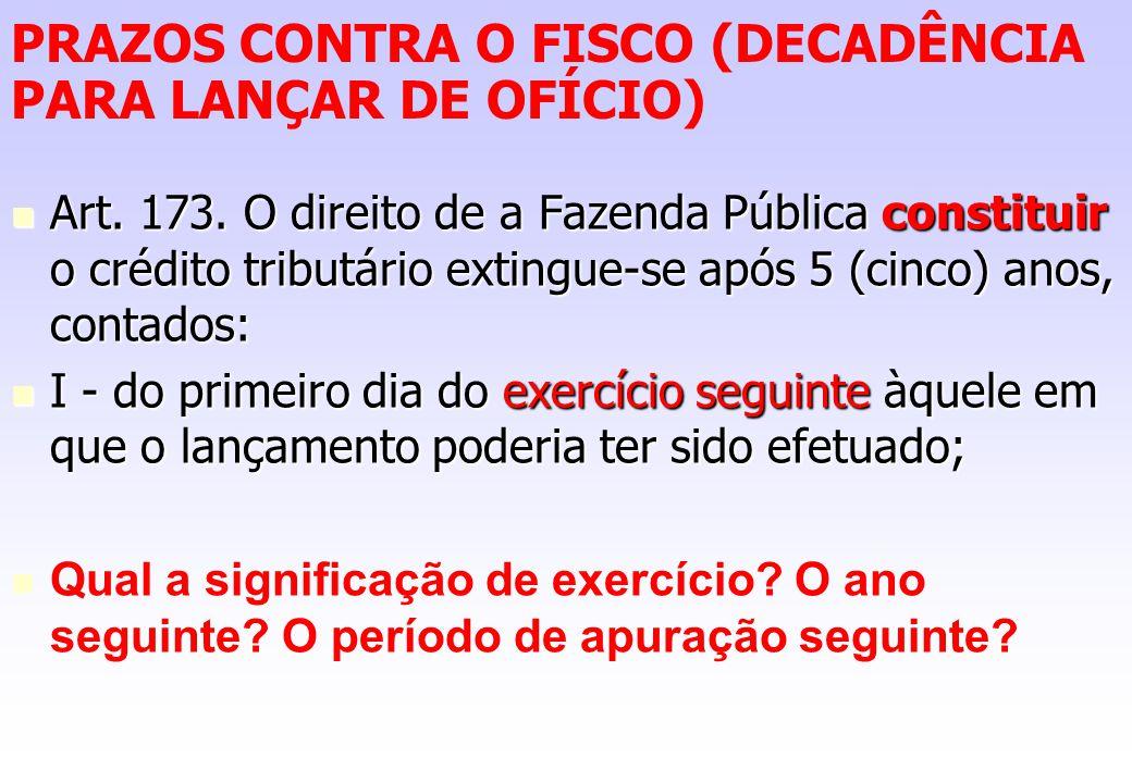 PRAZOS CONTRA O FISCO (DECADÊNCIA PARA LANÇAR DE OFÍCIO)
