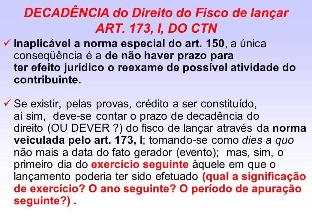 DECADÊNCIA do Direito do Fisco de lançar ART. 173, I, DO CTN