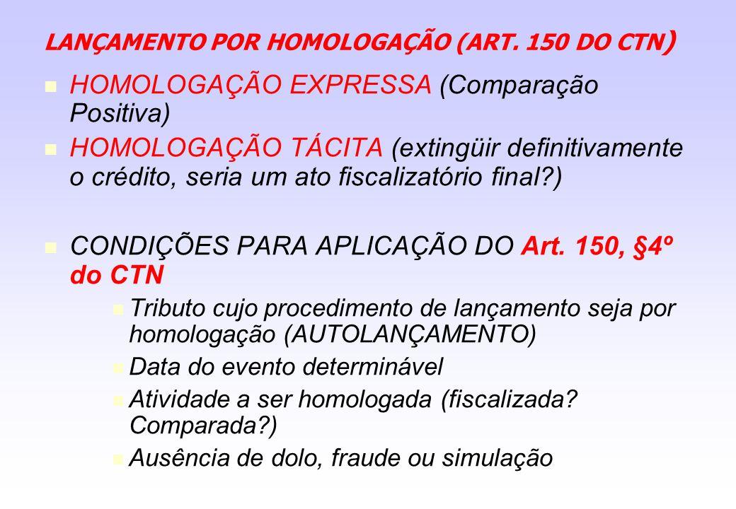 LANÇAMENTO POR HOMOLOGAÇÃO (ART. 150 DO CTN)