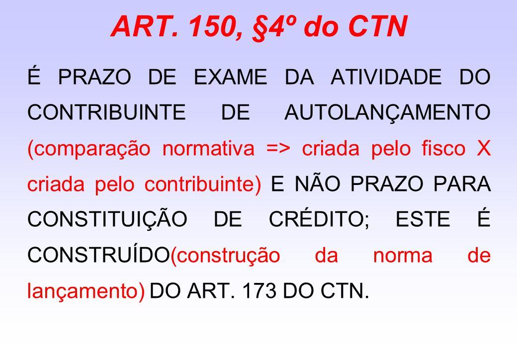 ART. 150, §4º do CTN