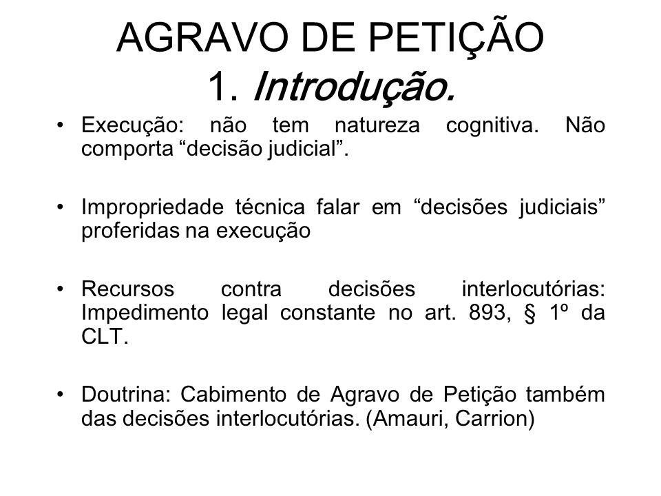 AGRAVO DE PETIÇÃO 1. Introdução.