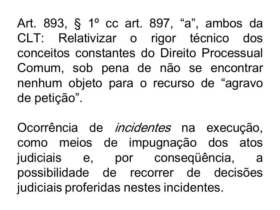 Art. 893, § 1º cc art. 897, a , ambos da CLT: Relativizar o rigor técnico dos conceitos constantes do Direito Processual Comum, sob pena de não se encontrar nenhum objeto para o recurso de agravo de petição .