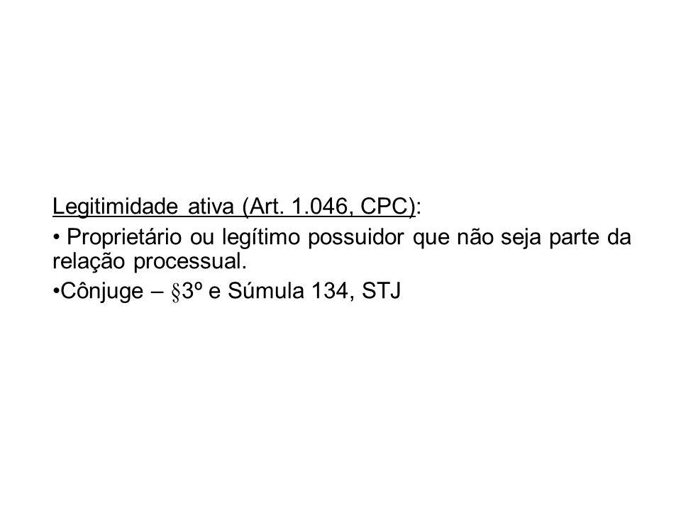 Legitimidade ativa (Art. 1.046, CPC):