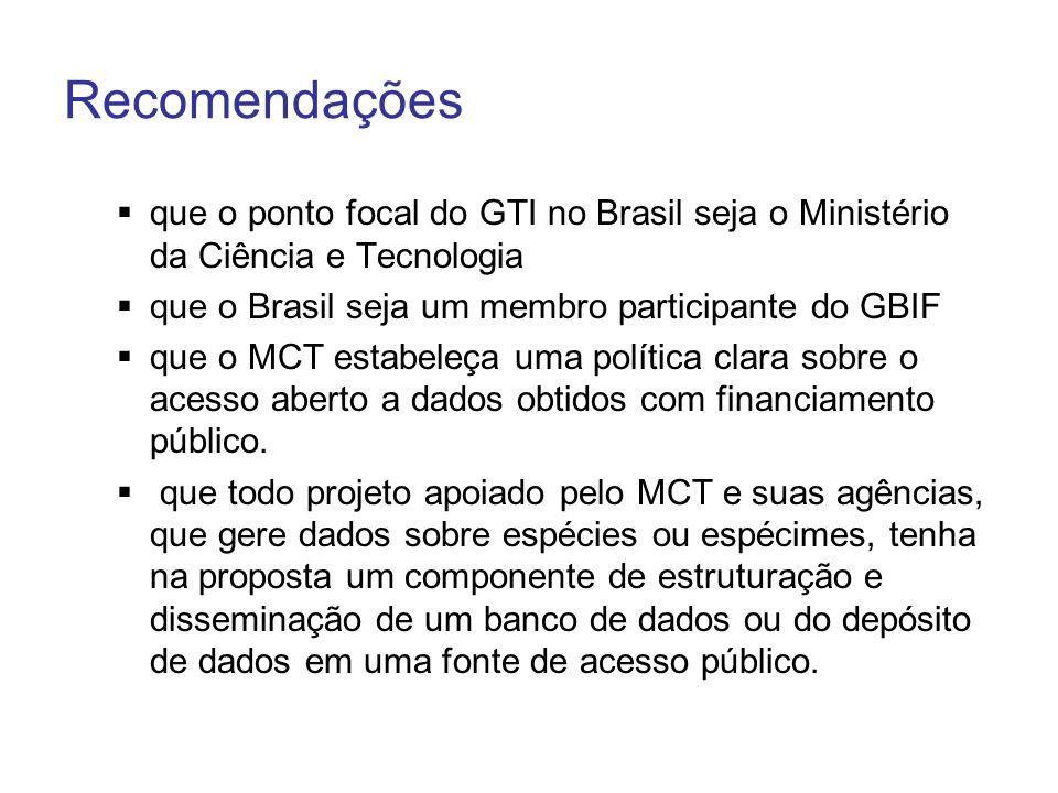 Recomendações que o ponto focal do GTI no Brasil seja o Ministério da Ciência e Tecnologia. que o Brasil seja um membro participante do GBIF.