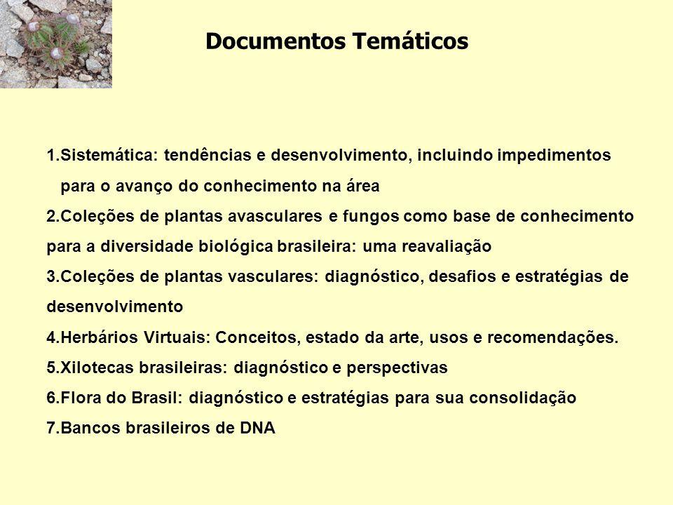 Documentos Temáticos 1.Sistemática: tendências e desenvolvimento, incluindo impedimentos para o avanço do conhecimento na área.