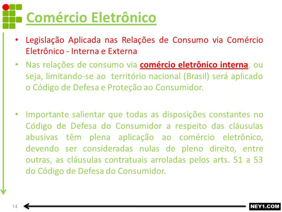 Comércio Eletrônico Legislação Aplicada nas Relações de Consumo via Comércio Eletrônico - Interna e Externa.