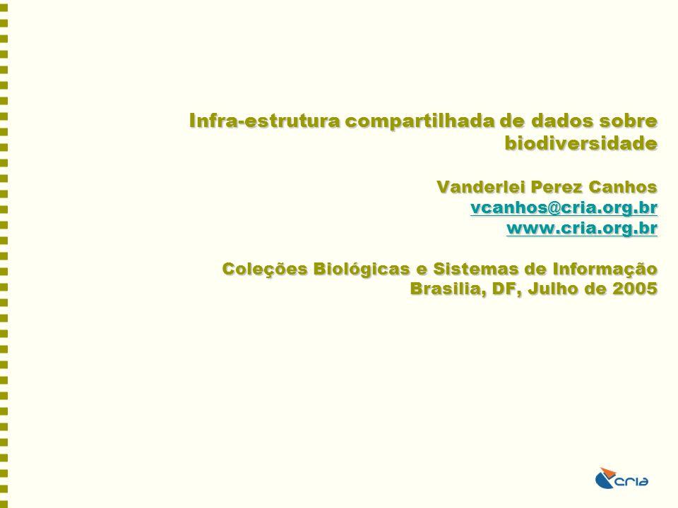 Infra-estrutura compartilhada de dados sobre biodiversidade Vanderlei Perez Canhos vcanhos@cria.org.br www.cria.org.br Coleções Biológicas e Sistemas de Informação Brasilia, DF, Julho de 2005