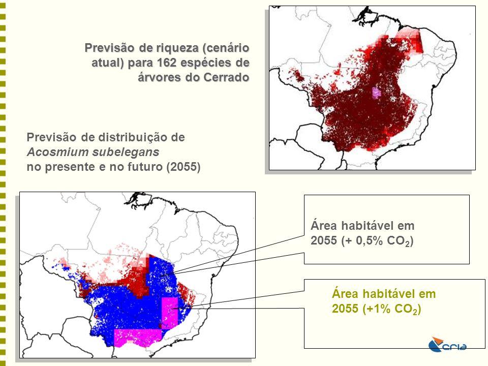 Previsão de riqueza (cenário atual) para 162 espécies de árvores do Cerrado