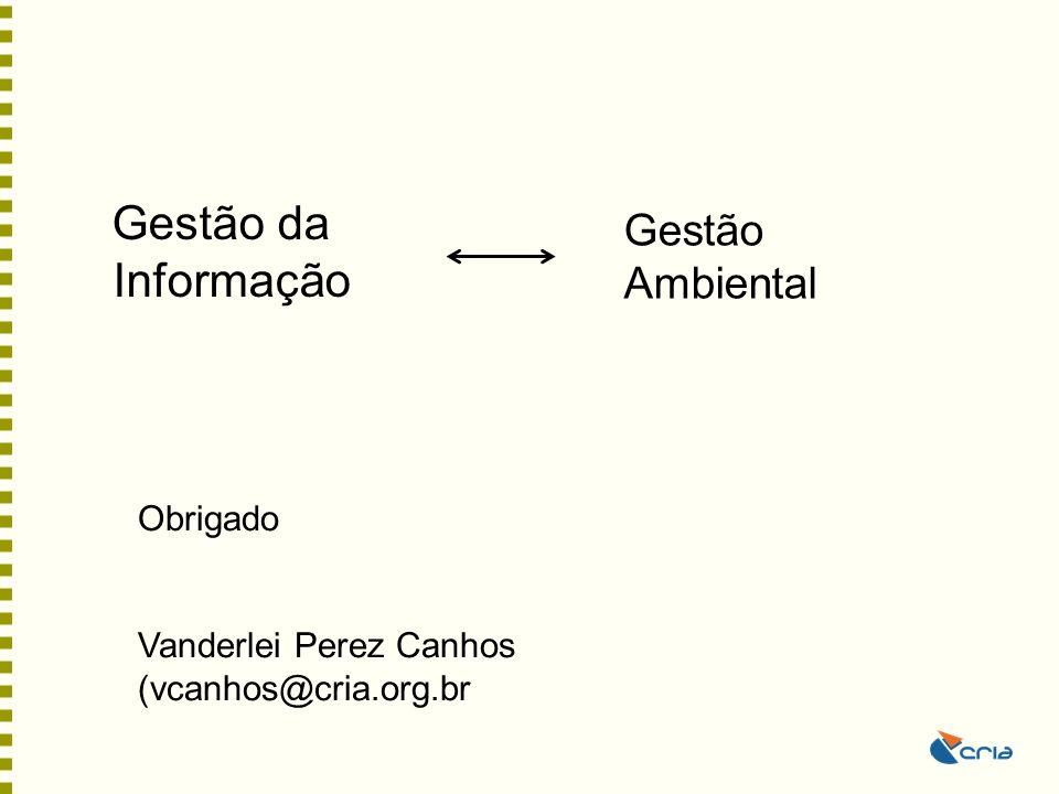 Gestão da Informação Gestão Ambiental Obrigado Vanderlei Perez Canhos