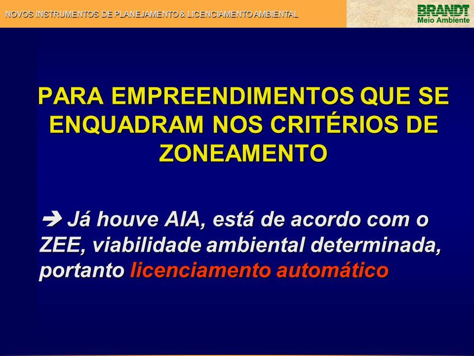PARA EMPREENDIMENTOS QUE SE ENQUADRAM NOS CRITÉRIOS DE ZONEAMENTO