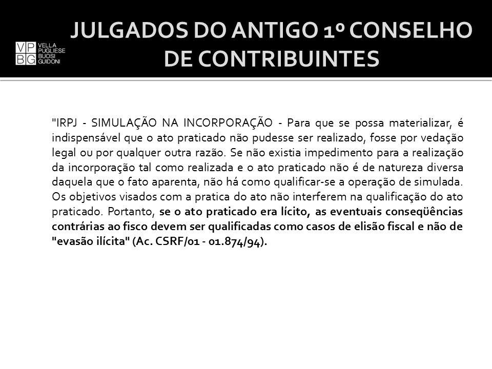 JULGADOS DO ANTIGO 1º CONSELHO DE CONTRIBUINTES