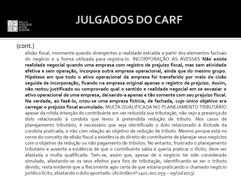 JULGADOS DO CARF (cont.)