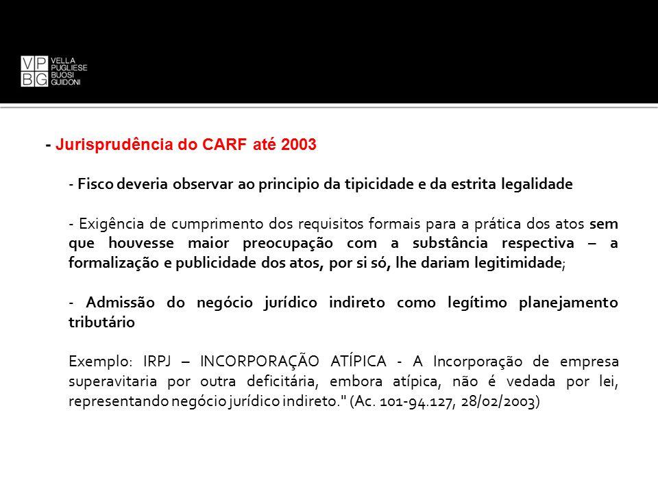 - Jurisprudência do CARF até 2003