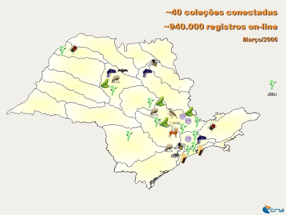 ~40 coleções conectadas ~940.000 registros on-line Março/2006 JBRJ