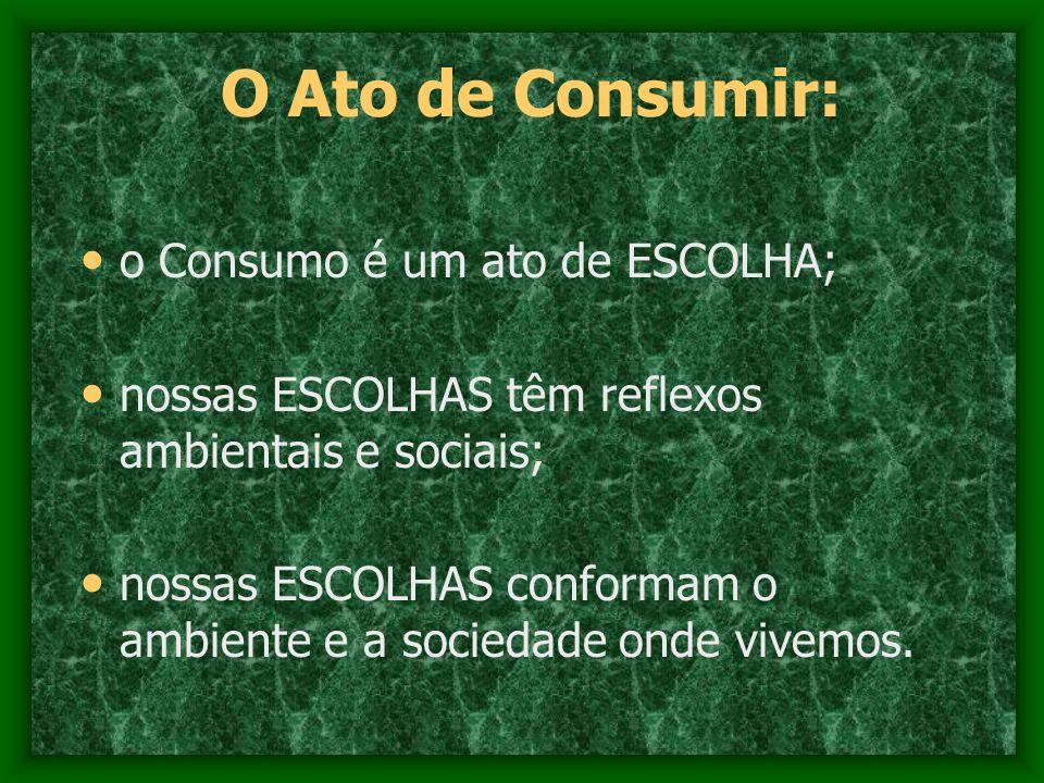 O Ato de Consumir: o Consumo é um ato de ESCOLHA;