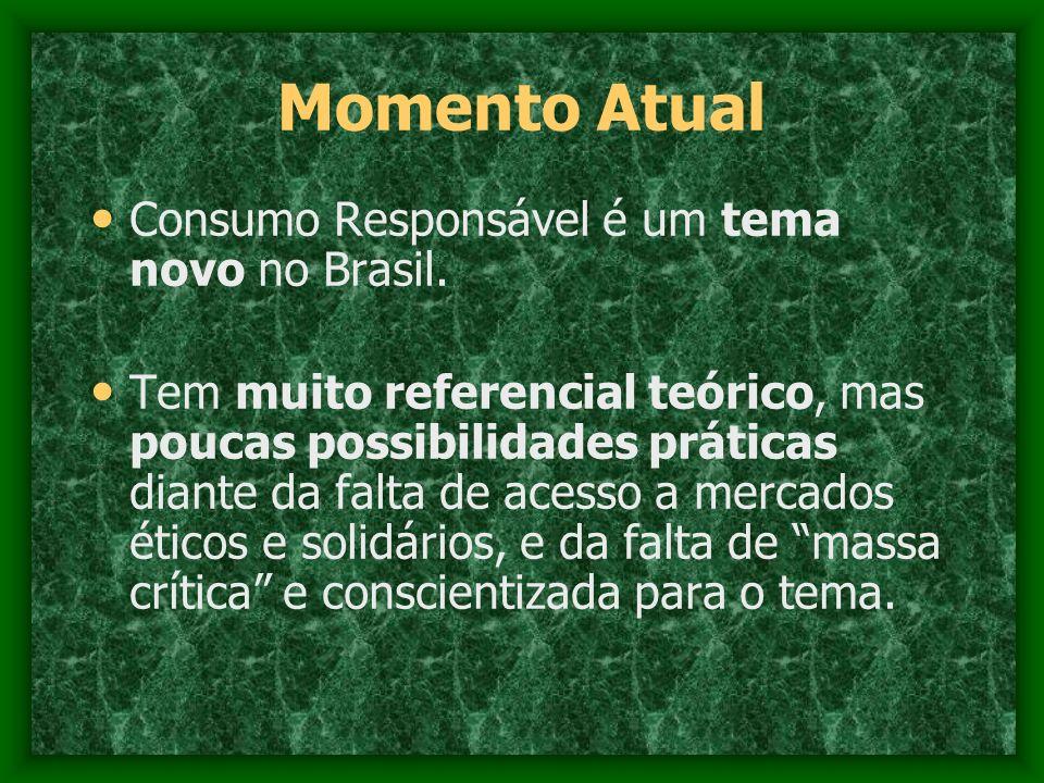 Momento Atual Consumo Responsável é um tema novo no Brasil.