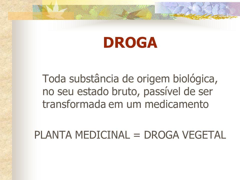 PLANTA MEDICINAL = DROGA VEGETAL