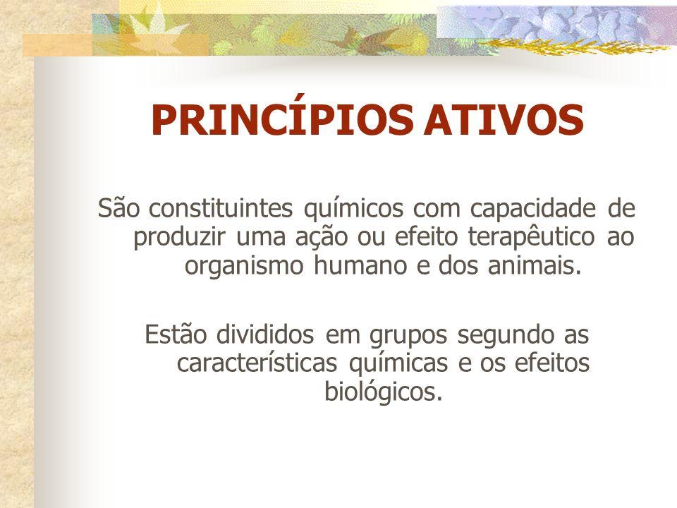 PRINCÍPIOS ATIVOS São constituintes químicos com capacidade de produzir uma ação ou efeito terapêutico ao organismo humano e dos animais.
