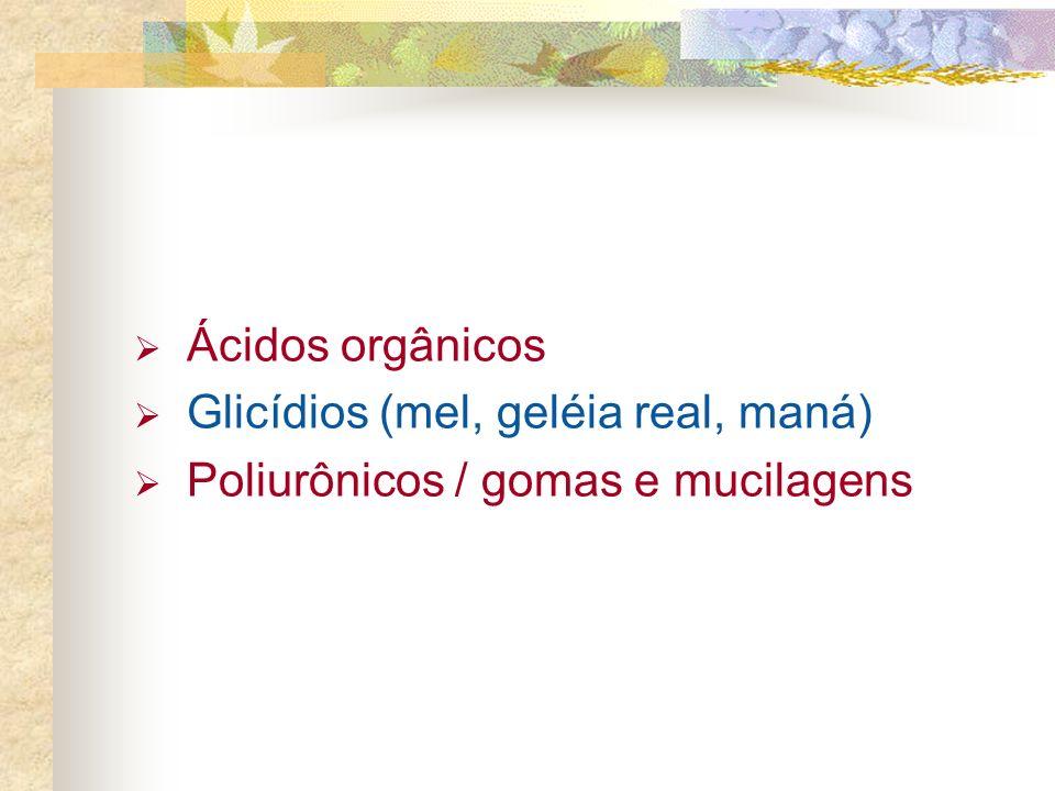 Ácidos orgânicos Glicídios (mel, geléia real, maná) Poliurônicos / gomas e mucilagens