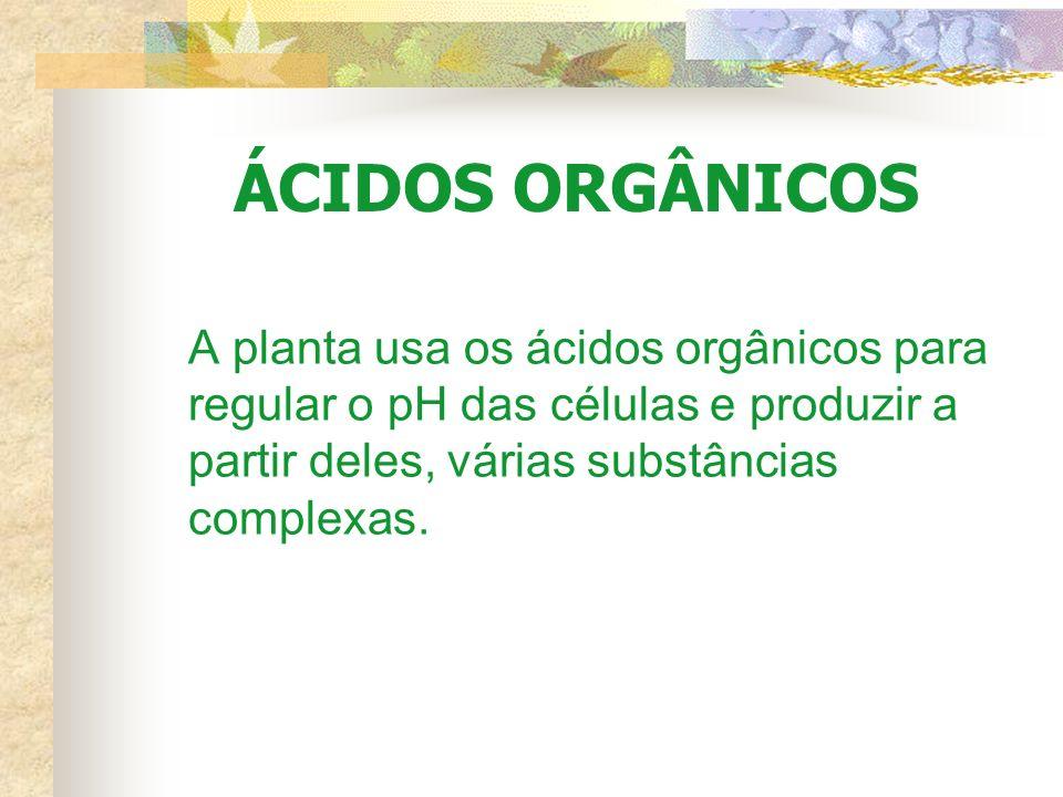 ÁCIDOS ORGÂNICOS A planta usa os ácidos orgânicos para regular o pH das células e produzir a partir deles, várias substâncias complexas.