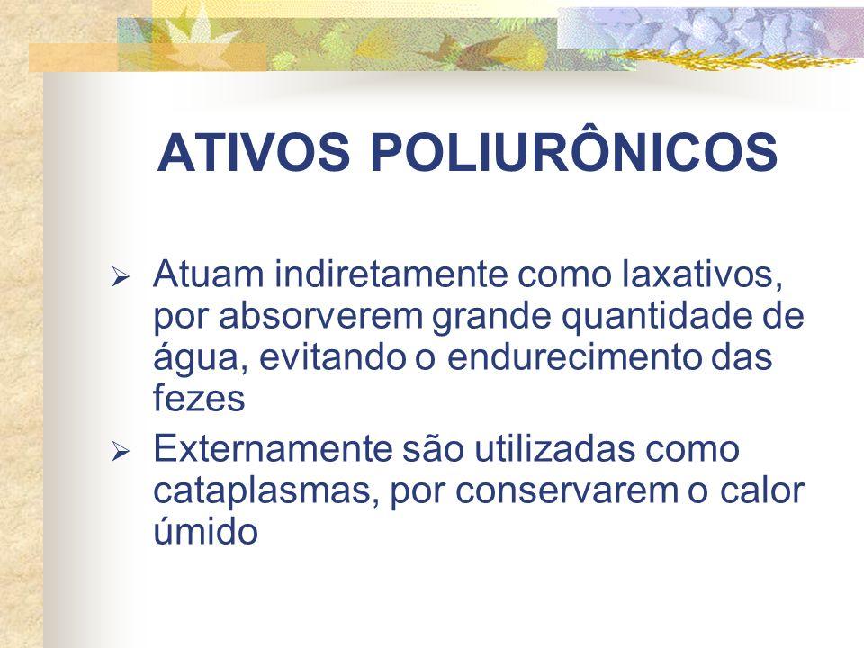 ATIVOS POLIURÔNICOS Atuam indiretamente como laxativos, por absorverem grande quantidade de água, evitando o endurecimento das fezes.