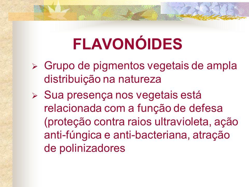 FLAVONÓIDES Grupo de pigmentos vegetais de ampla distribuição na natureza.