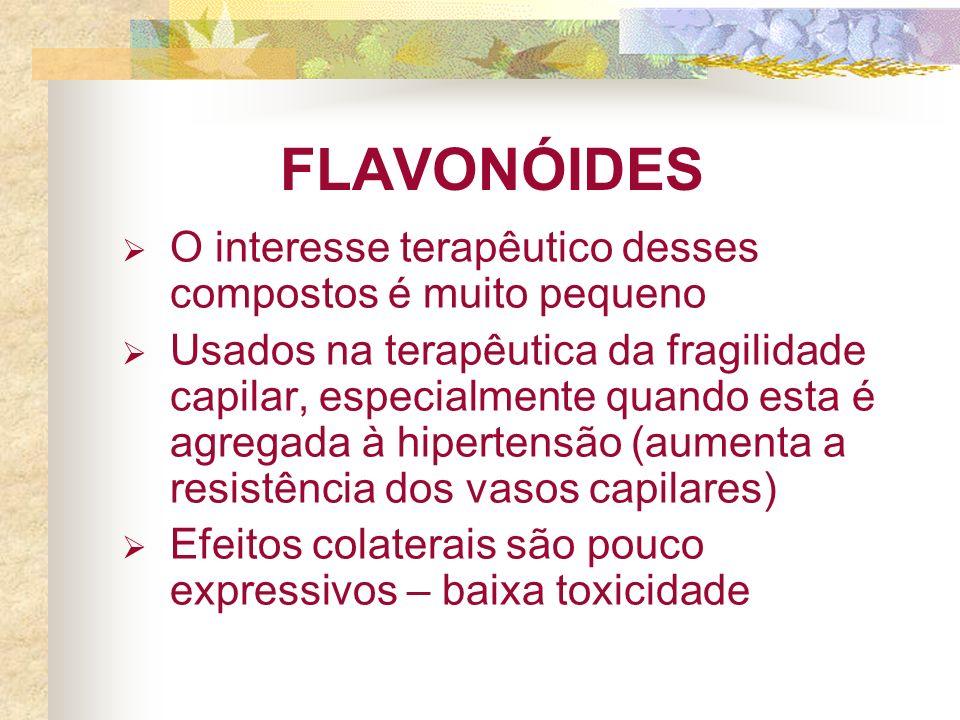 FLAVONÓIDES O interesse terapêutico desses compostos é muito pequeno