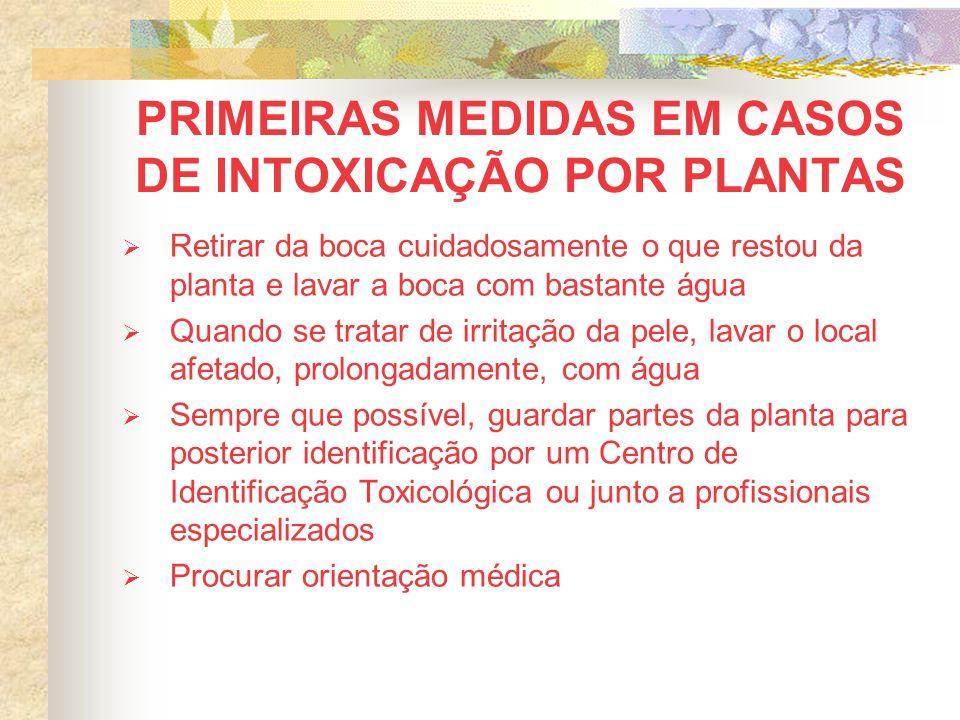 PRIMEIRAS MEDIDAS EM CASOS DE INTOXICAÇÃO POR PLANTAS