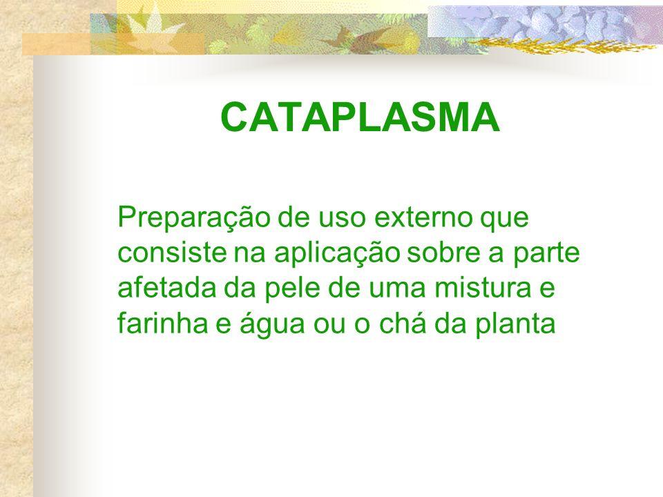 CATAPLASMA Preparação de uso externo que consiste na aplicação sobre a parte afetada da pele de uma mistura e farinha e água ou o chá da planta.