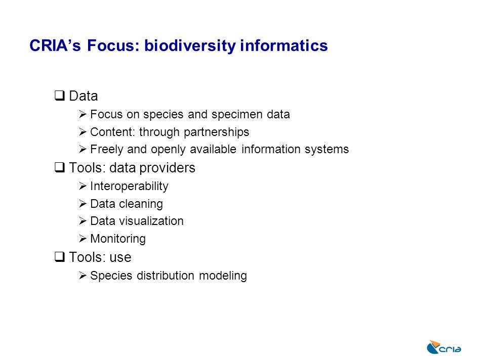 CRIA's Focus: biodiversity informatics
