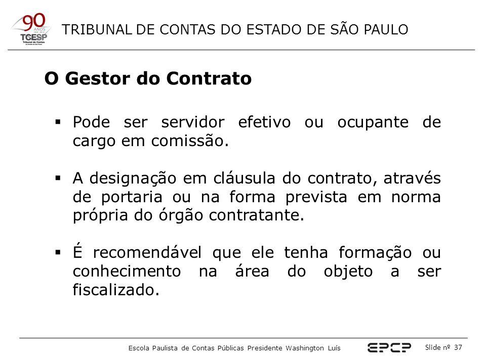 O Gestor do Contrato Pode ser servidor efetivo ou ocupante de cargo em comissão.