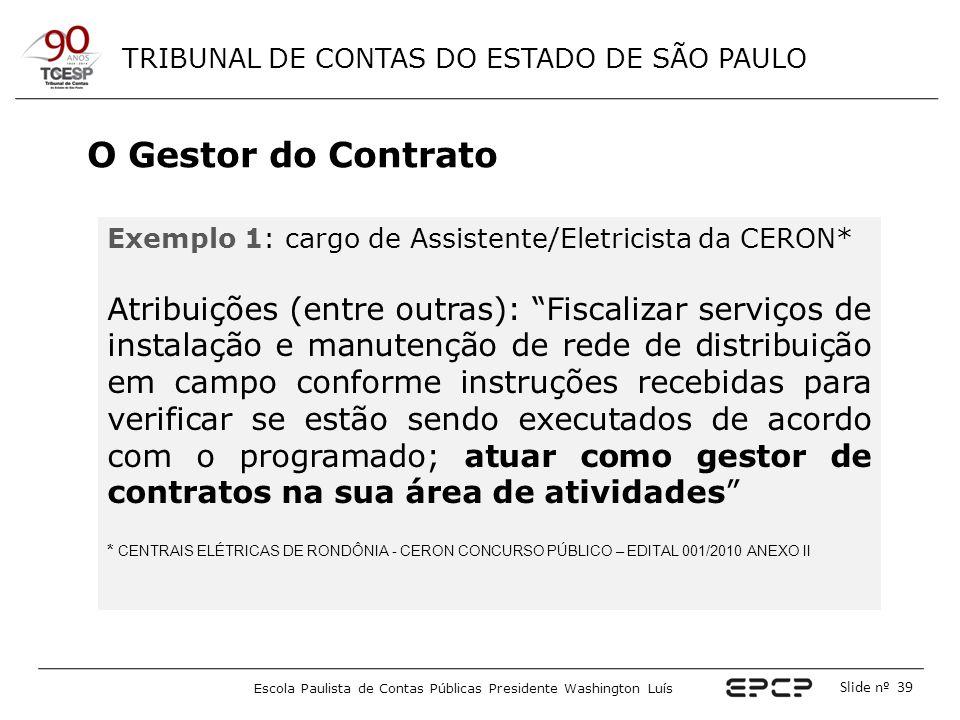 O Gestor do Contrato Exemplo 1: cargo de Assistente/Eletricista da CERON*