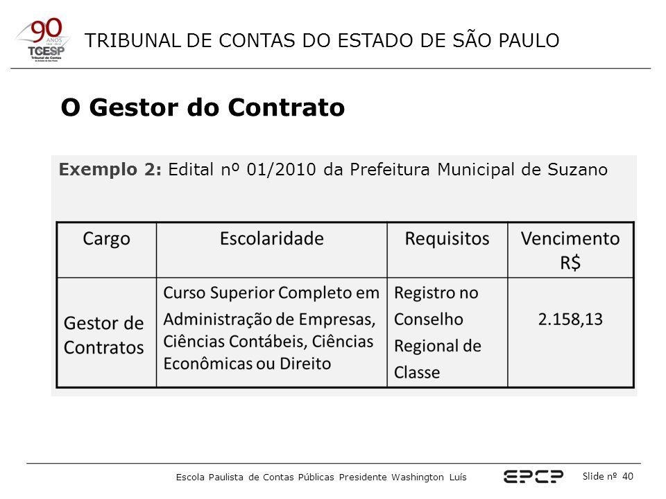 O Gestor do Contrato Exemplo 2: Edital nº 01/2010 da Prefeitura Municipal de Suzano