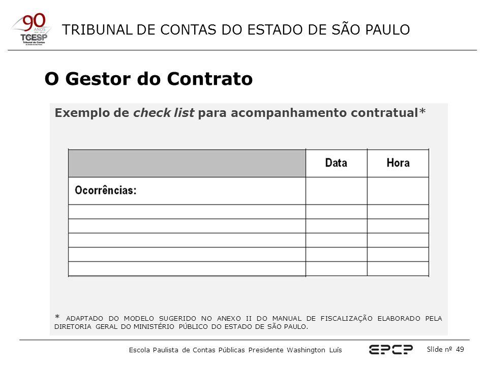 O Gestor do Contrato Exemplo de check list para acompanhamento contratual*