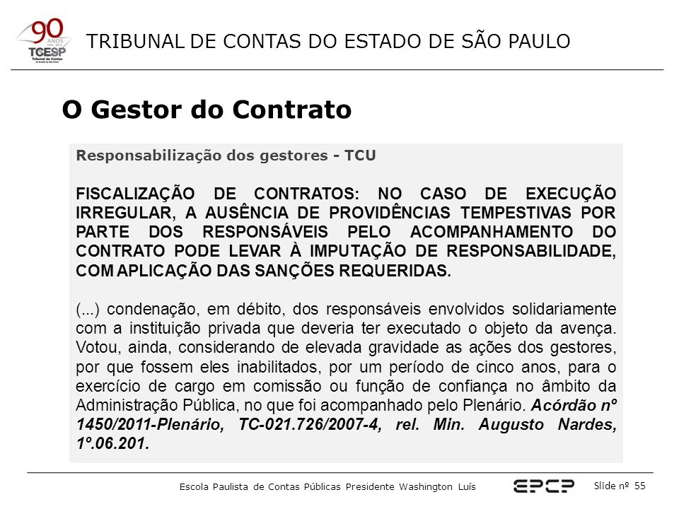 O Gestor do Contrato Responsabilização dos gestores - TCU.