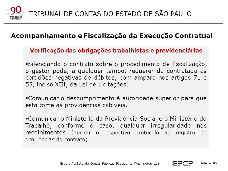 Acompanhamento e Fiscalização da Execução Contratual