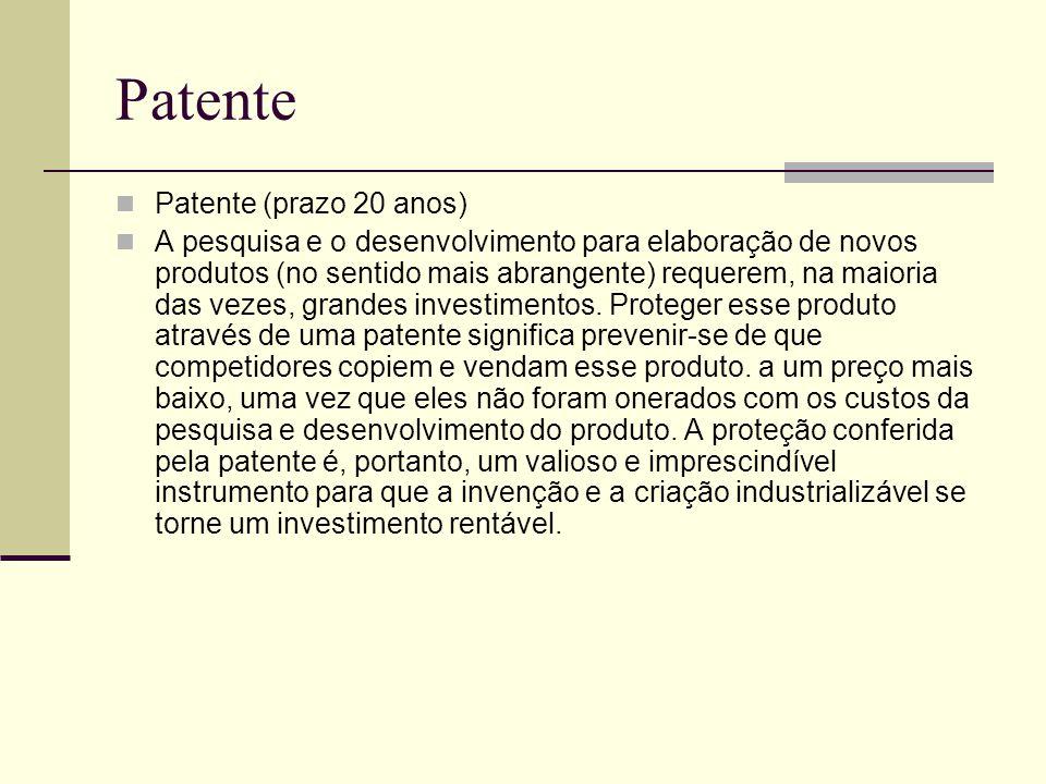 Patente Patente (prazo 20 anos)