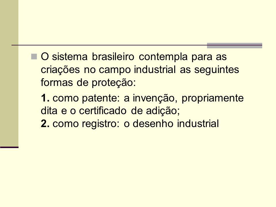 O sistema brasileiro contempla para as criações no campo industrial as seguintes formas de proteção: