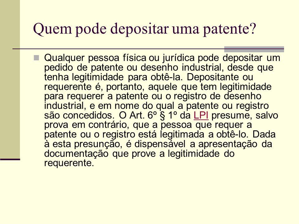 Quem pode depositar uma patente