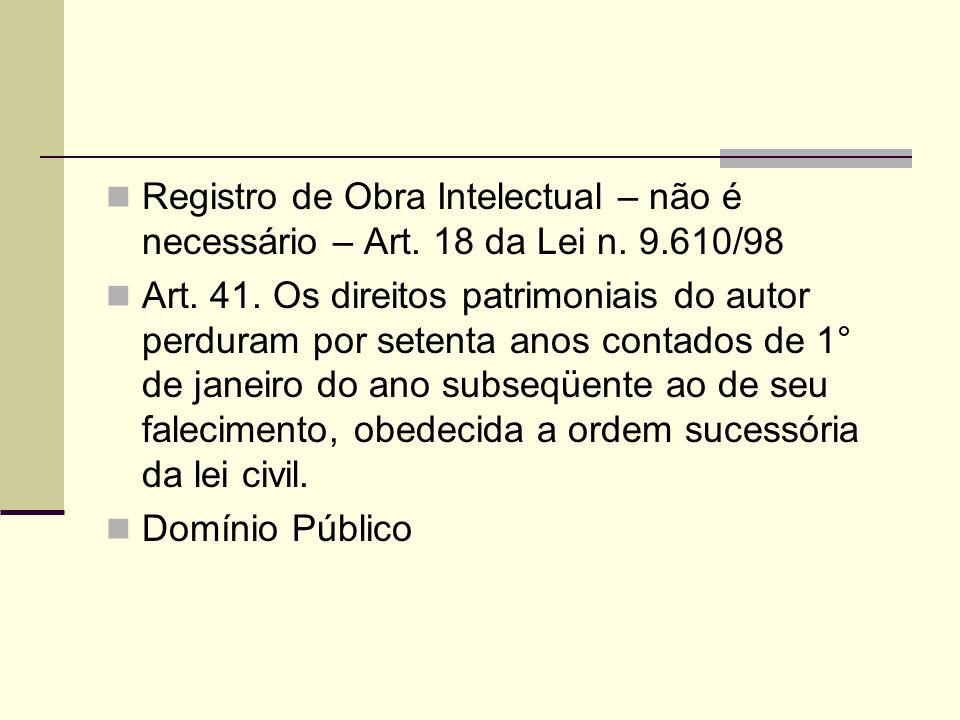 Registro de Obra Intelectual – não é necessário – Art. 18 da Lei n. 9