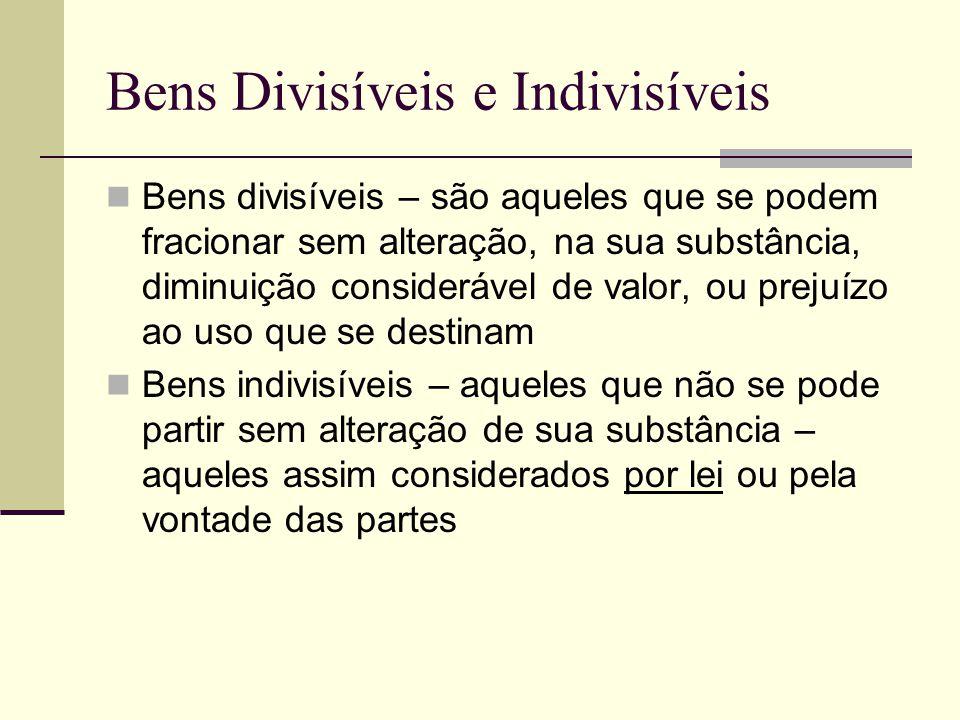 Bens Divisíveis e Indivisíveis