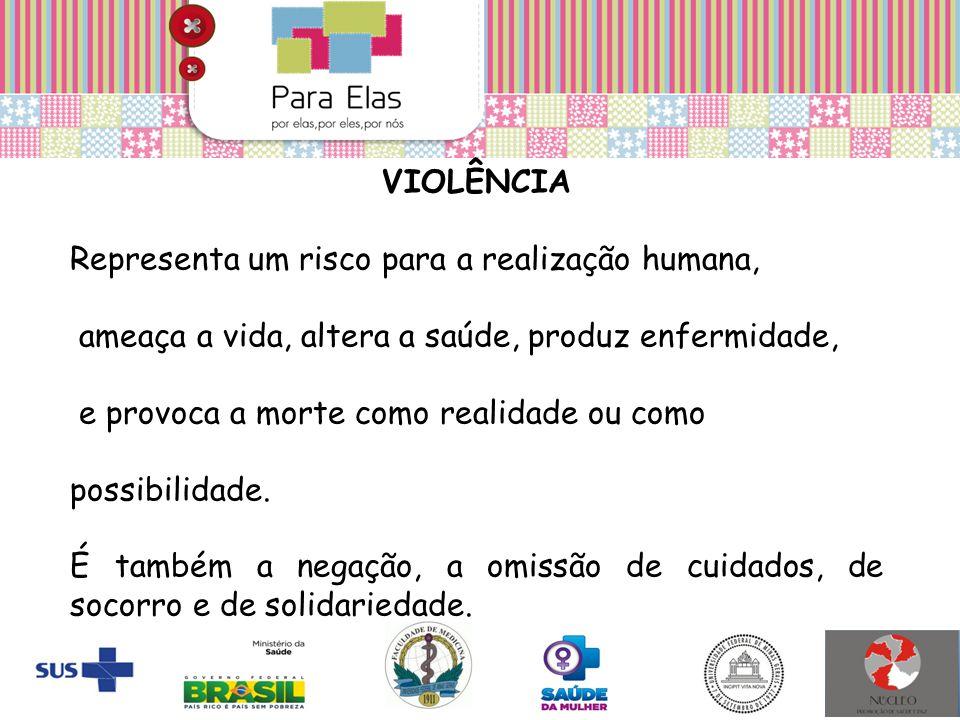 VIOLÊNCIA Representa um risco para a realização humana, ameaça a vida, altera a saúde, produz enfermidade,