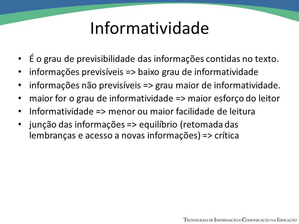 Informatividade É o grau de previsibilidade das informações contidas no texto. informações previsíveis => baixo grau de informatividade.