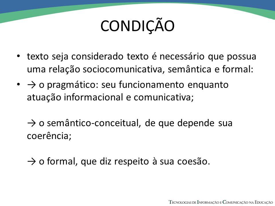 CONDIÇÃO texto seja considerado texto é necessário que possua uma relação sociocomunicativa, semântica e formal: