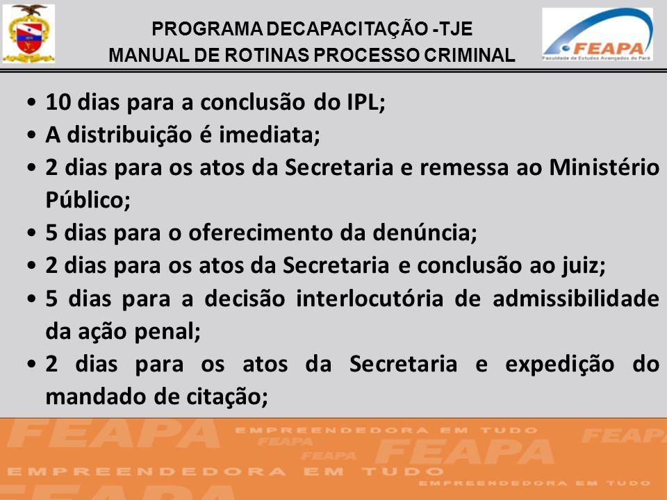PROGRAMA DECAPACITAÇÃO -TJE MANUAL DE ROTINAS PROCESSO CRIMINAL