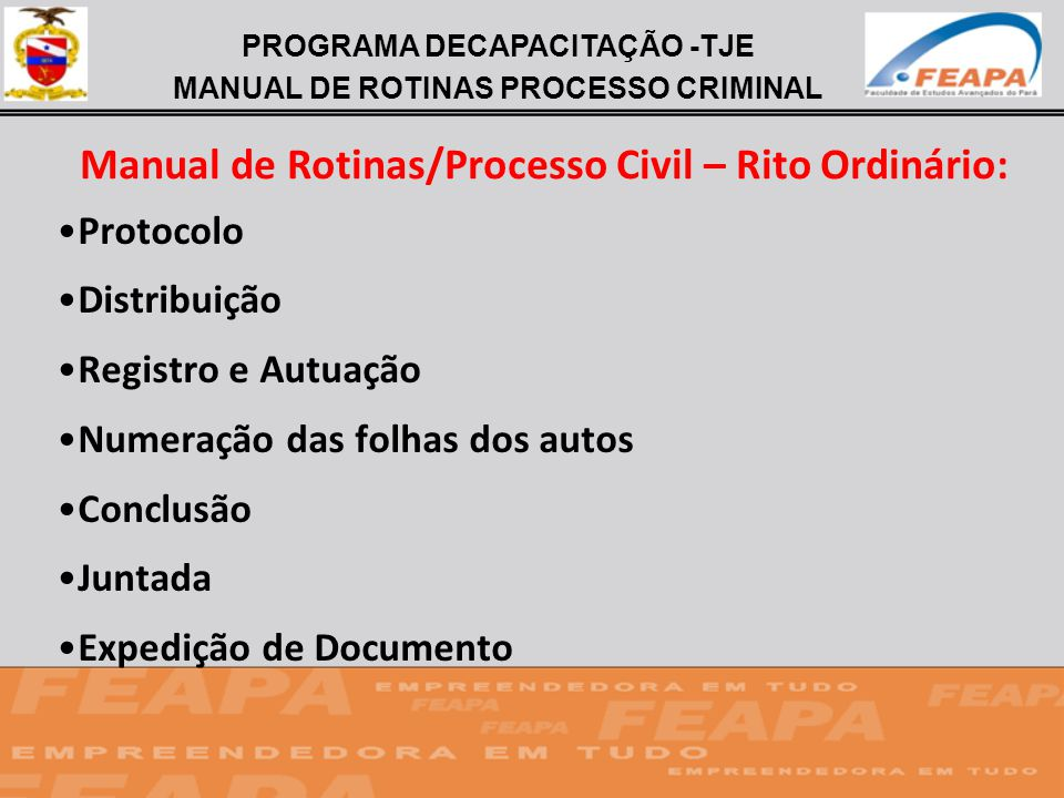 Manual de Rotinas/Processo Civil – Rito Ordinário: