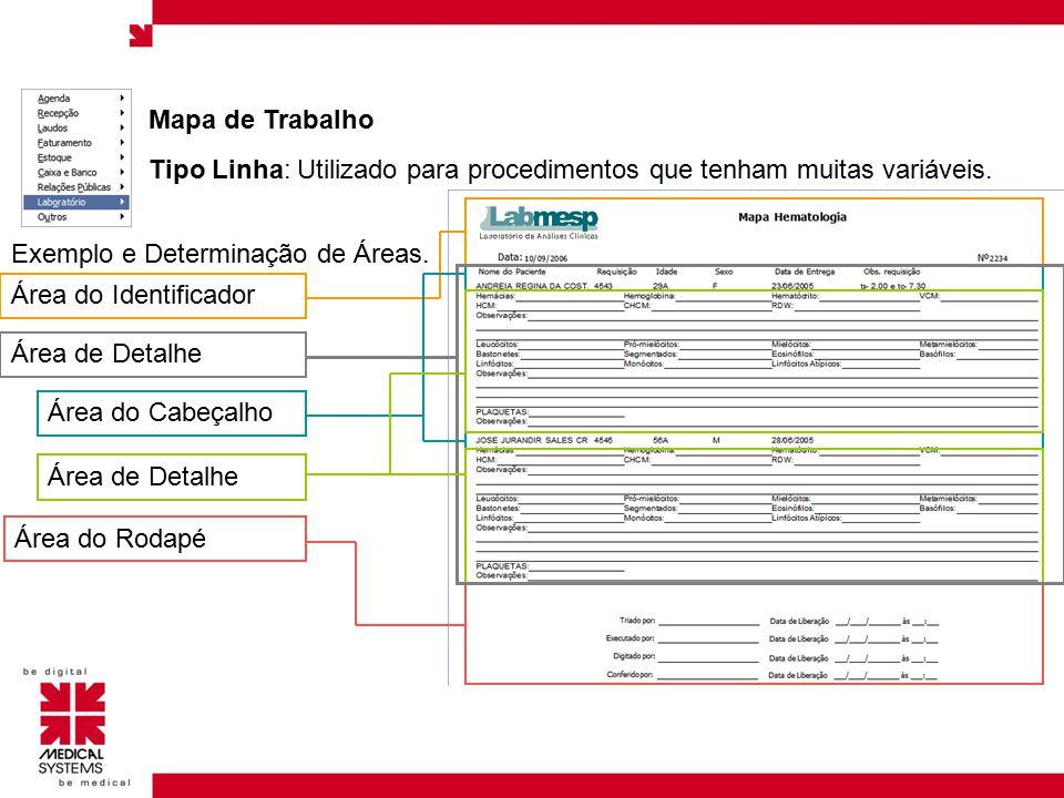 Mapa de Trabalho Tipo Linha: Utilizado para procedimentos que tenham muitas variáveis. Exemplo e Determinação de Áreas.
